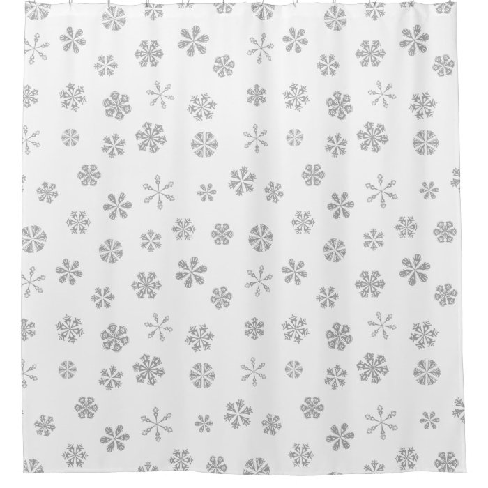 Silver White Snowflake Pattern Shower Curtain Zazzle