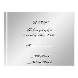 Silver White Snowflake Winter Wedding RSVP Postcard