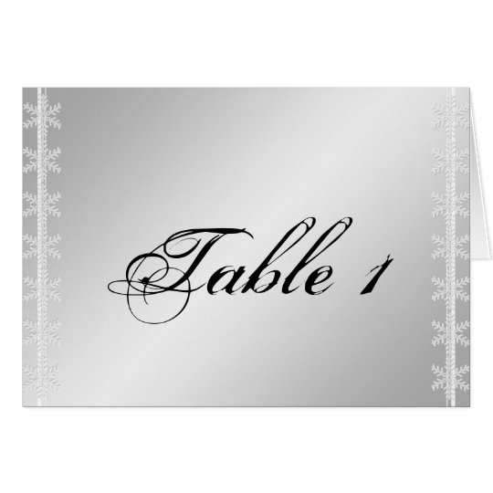 Silver White Snowflake Winter Wedding Table Number
