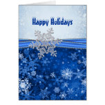 Silver white snowflakes on blue Christmas holidays Card