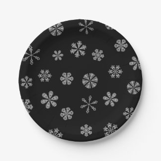 Silver White Snowflakes Pattern on Black Paper Plate