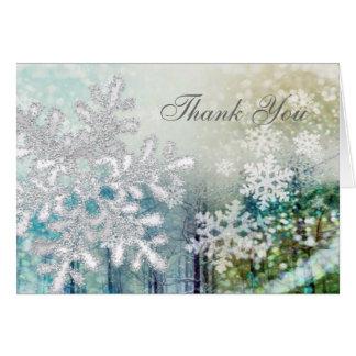 Silver white snowflakes Thank You Note Card