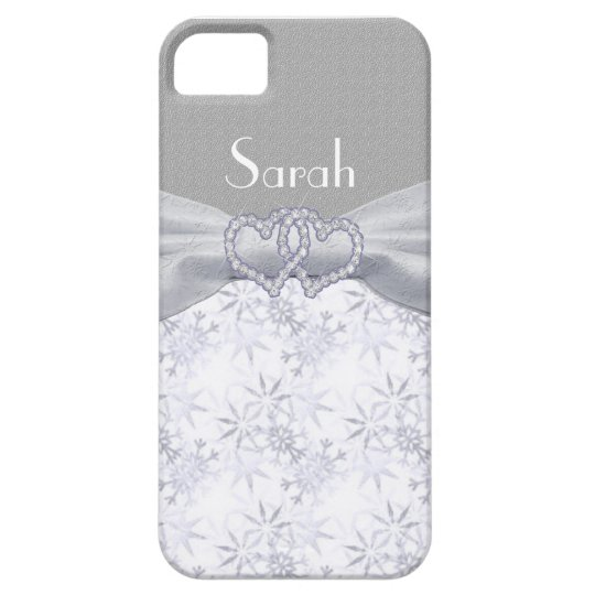 Silver & White Stars & Snowflakes Personalize iPhone SE/5/5s Case
