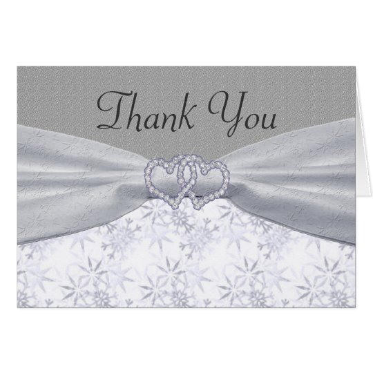 Silver, White Stars & Snowflakes Wedding Card