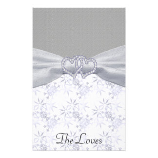 Silver, White Stars & Snowflakes Wedding Stationery Paper