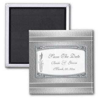 Silver white vintage floral wedding fridge magnets