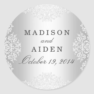 Silver & White Vintage Glamour Wedding Sticker