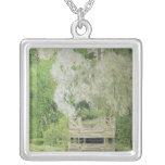 Silver White Willow, 1904 Square Pendant Necklace