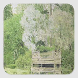Silver White Willow 1904 Square Stickers