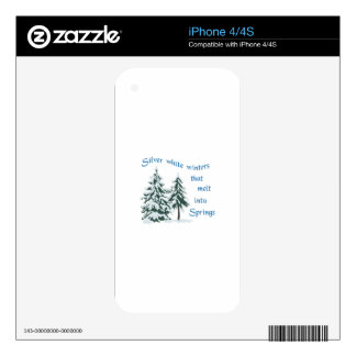 Silver White Winters iPhone 4S Skin