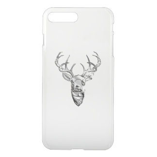 Silver Whitetail Deer on Carbon Fiber Style iPhone 7 Plus Case