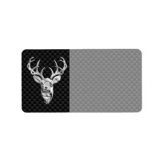 Silver Wild Deer on Carbon Fiber Style Decor Label