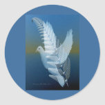Silver Wing Round Stickers