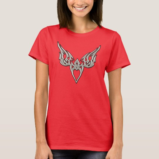 Silver Winged Tribal Heart T-Shirt