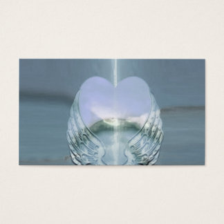 Silver Wings Wrapped Around a Heart Business Card