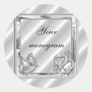 Silver Winter Holiday Wedding Envelope Seals Label