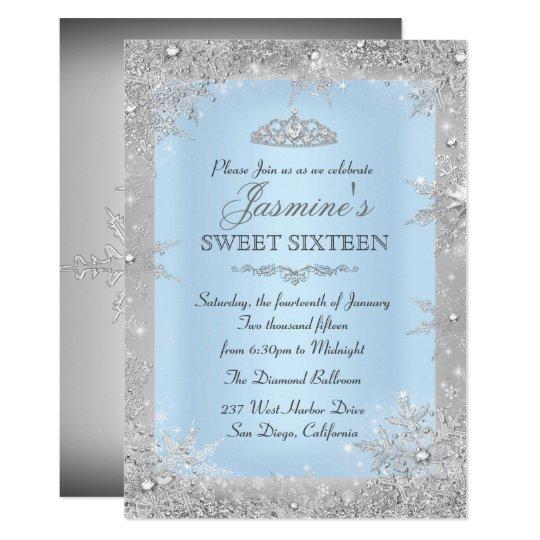 silver winter wonderland blue sweet 16 invitation zazzle com