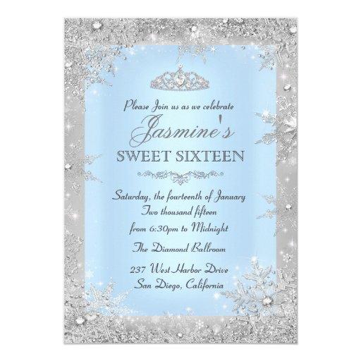 Silver Winter Wonderland Blue Sweet 16 Invitation | Zazzle