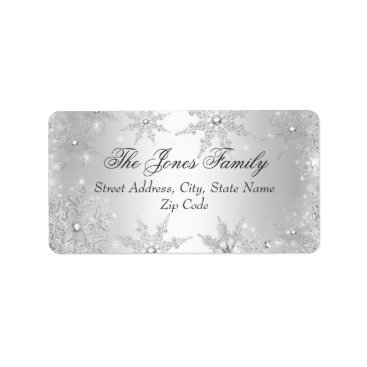 Christmas Themed Silver Winter Wonderland Christmas Address Labels