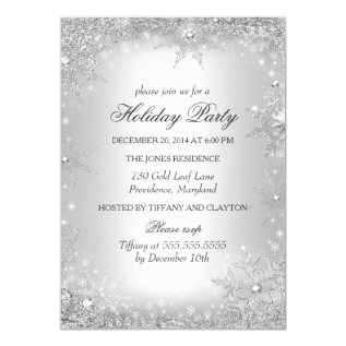 Silver Winter Wonderland Christmas Holiday Party Card at Zazzle