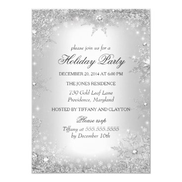 Christmas Themed Silver Winter Wonderland Christmas Holiday Party Card
