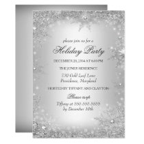 Silver Winter Wonderland Christmas Holiday Party Invitation