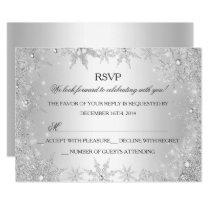 Silver Winter Wonderland Christmas Holiday RSVP Invitation