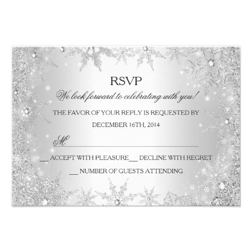 Silver Winter Wonderland Christmas Holiday RSVP Announcements