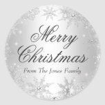 """Silver Winter Wonderland Christmas Holiday Sticker<br><div class=""""desc"""">Christmas Holiday Sticker. Silver Sparkle jewel snowflake design. Please Note: All flat images,  they do not have real jewels!</div>"""