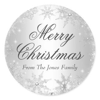 Silver Winter Wonderland Christmas Holiday Sticker