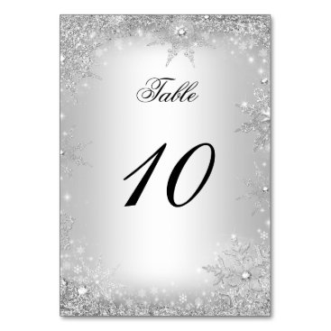 Christmas Themed Silver Winter Wonderland Christmas Table Number