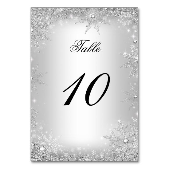 Silver Winter Wonderland Christmas Table Number