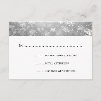 Silver Winter Wonderland Elegant Wedding RSVP