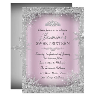 Silver Winter Wonderland Pink Sweet 16 Invitation