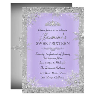 Silver Winter Wonderland purple sweet 16 Invite