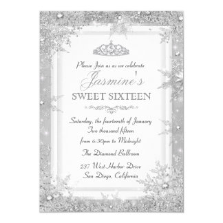 Silver Winter Wonderland Sweet 16 Invitation