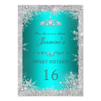 Silver Winter Wonderland teal sweet 16 Invite
