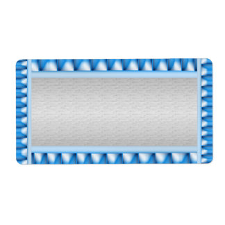 Silver with Blue Sparkle Border  Template Label