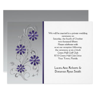Silver with Purple Flowers Reception Only Card