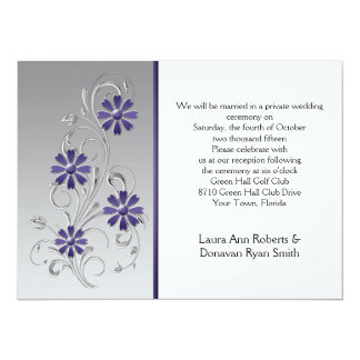 Silver with Purple Flowers Reception Only 5.5x7.5 Paper Invitation Card