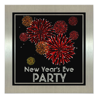 Silver with Red Fireworks New Years Party Invitation