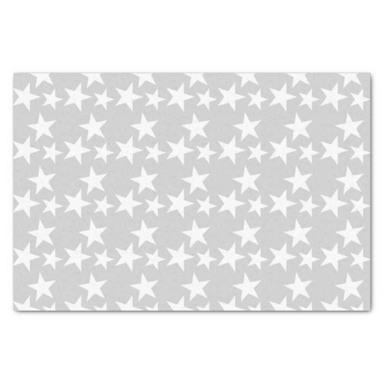 Silver with white stars Craft Tissue Paper