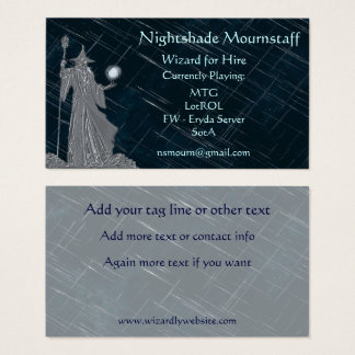 Silver Wizard on Night Sky Business Card