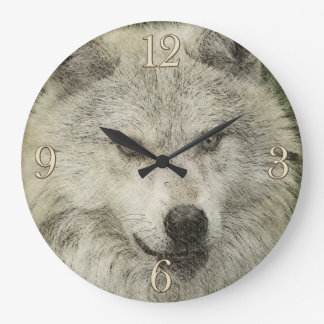 Silver Wolf Pencil Illustration Drawing Clock