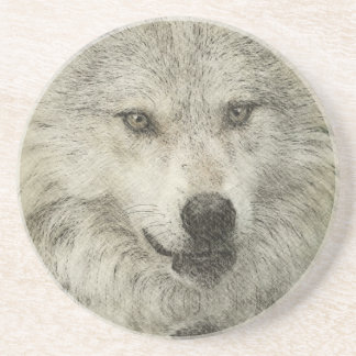 Silver Wolf Pencil Illustration Drawing Drink Coaster