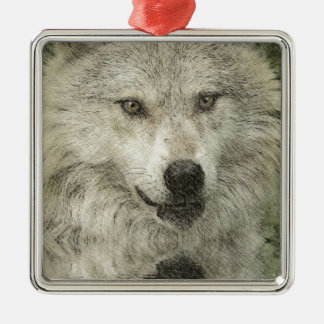 Silver Wolf Pencil Illustration Drawing Metal Ornament