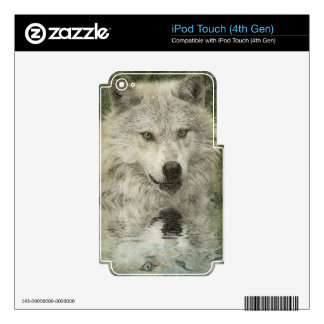 Silver Wolf Pencil Illustration Drawing iPod Touch 4G Skin