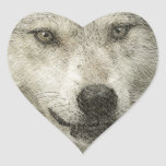 Silver Wolf Pencil Illustration Drawing Heart Sticker