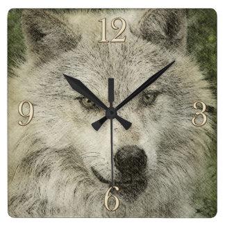 Silver Wolf Pencil Sketch Wildlife Drawing Clock