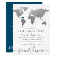 Silver World Travel Map Destination Wedding Invitation
